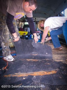 "The floor consisted originally of 1/4"" ply, 1/2"" sound board, and 1/2"" ply topped with rubber"