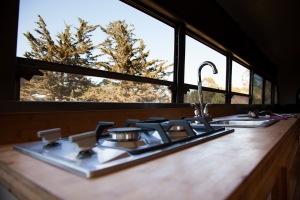 freshly installed high efficiency ramblewood stove top