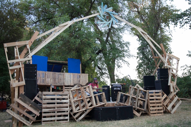 Artist and Promoter Ship Wreck playing the Living River Stage at Transcendence Festival